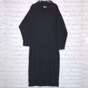 Vintage Cowl Neck Maxi Dress Jersey Knit Black